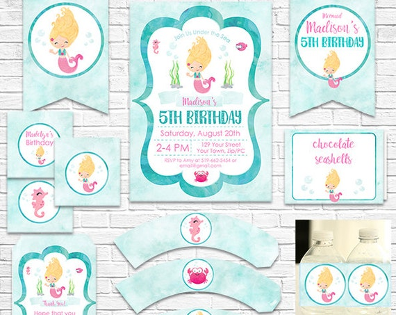 Blonde Mermaid Birthday Invitation and Decorations - Mermaid Invitation - Download Now & Personalize in Adobe Reader at home