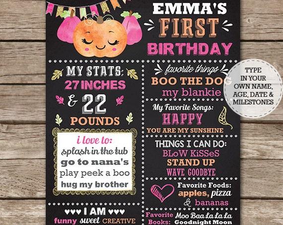 Pumpkin Birthday Chalkboard - Pumpkin Chalkboard Poster - Fall Birthday Chalkboard - 1st Birthday - Download & Edit in Adobe Reader at home