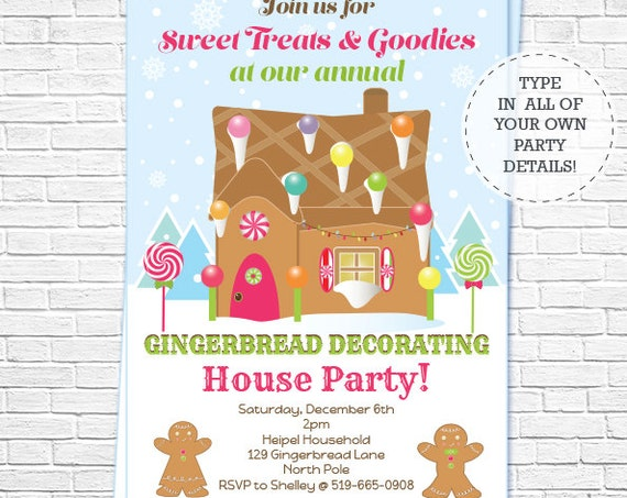 Pink Gingerbread Decorating Party Invitation - Christmas Invitation - Christmas Birthday Invitation - Download & Personalize in Adobe Reader