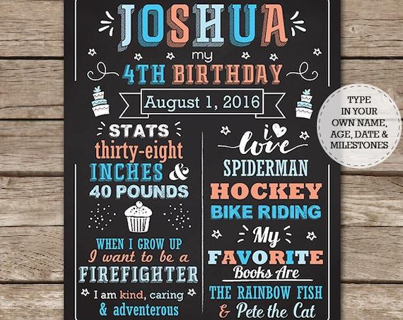 Boy Birthday Chalkboard Poster - Blue Orange Birthday Chalkboard - Birthday Poster - Photo Prop - Download & Edit in Adobe Reader at home