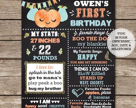 Pumpkin Birthday Chalkboard - Boy Pumpkin Chalkboard - Fall Birthday Chalkboard - Boy 1st Birthday - Download & Edit in Adobe Reader at home
