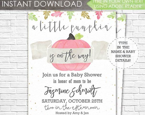 Pink Pumpkin Baby Shower Invitation - A Little Pumpkin is on the Way Baby Shower - Girl Baby Shower - Download & Personalize in Adobe Reader