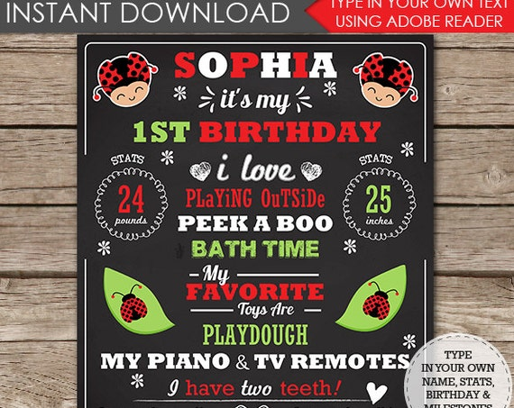 Ladybug Chalkboard Poster - Ladybug Birthday Chalkboard - Ladybug Party Sign - Download Now & Personalize in Adobe Reader at home