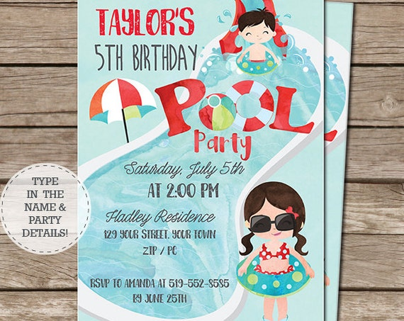 Girl Boy Pool Party Invitation - Pool Birthday Party - End of Year Party Invitation - Download Now and Personalize at home in Adobe Reader