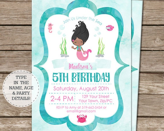 Watercolor Mermaid Invitation - African American Mermaid Birthday Invitation - Instant Download & Personalize in Adobe Reader at home