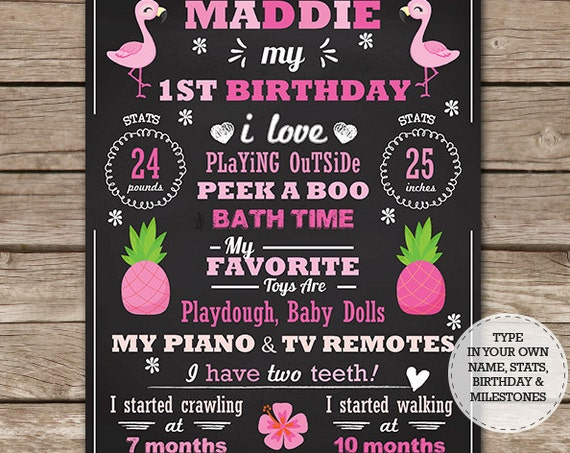 Flamingo Chalkboard Poster - Flamingo Birthday Chalkboard - Flamingo Party Sign - Download Now & Personalize in Adobe Reader at home