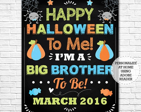 Halloween Big Brother Chalkboard - Halloween Pregnancy Announcement Chalkboard - Photo Prop - Instant Download - Personalize in Adobe Reader