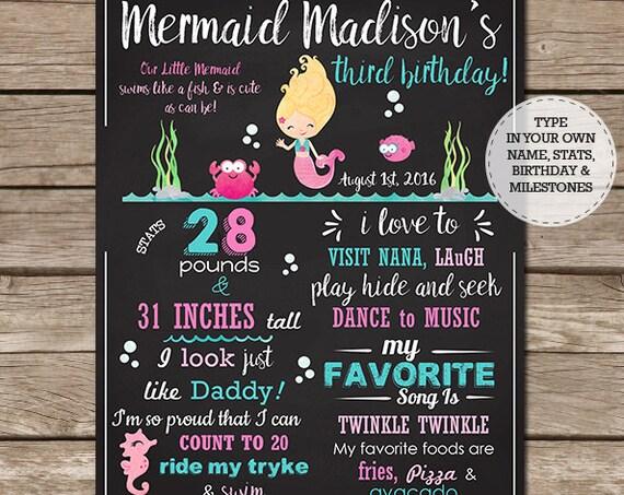 Blonde Mermaid Chalkboard Poster - Mermaid Birthday Chalkboard - Mermaid Party Birthday Sign - Download Now & Edit in Adobe Reader at home