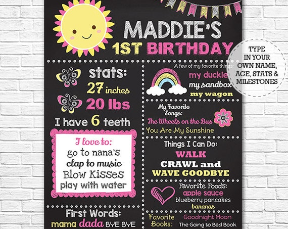 You Are My Sunshine Chalkboard Poster - Sunshine 1st Birthday Chalkboard - Rainbow Chalkboard - Download Now & Edit in Adobe Reader at home