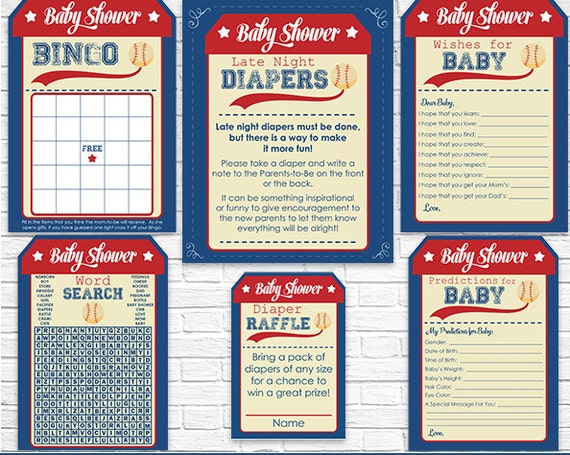 Baseball Baby Shower Games - Instant Download - Boy Baby Shower Activities - Wishes for Baby - Late Night Diapers - Bingo - Diaper Raffle
