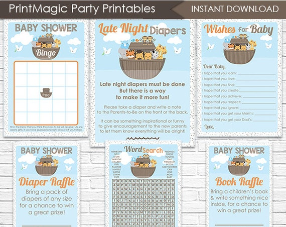 Noah's Ark Baby Shower Games - Instant Download - Ark Baby Shower - Ark Baby Shower Activities - Boy Baby Shower Games Kit - Baby Boy Shower