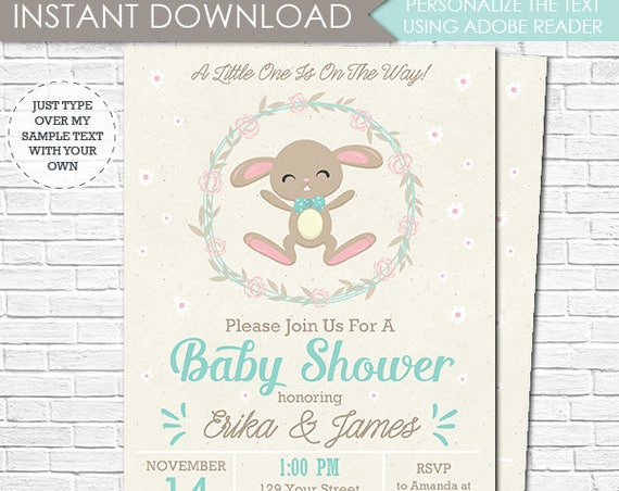 Bunny Baby Shower Invitation - Cute Bunny Boy Baby Shower Invitation - Parents to Be Baby Shower - Download & Personalize in Adobe Reader