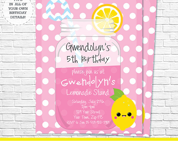 Pink Lemonade Invitation - Lemonade Stand Invitation - Pink Lemonade Birthday Party - Download Now & Personalize in Adobe Reader at home