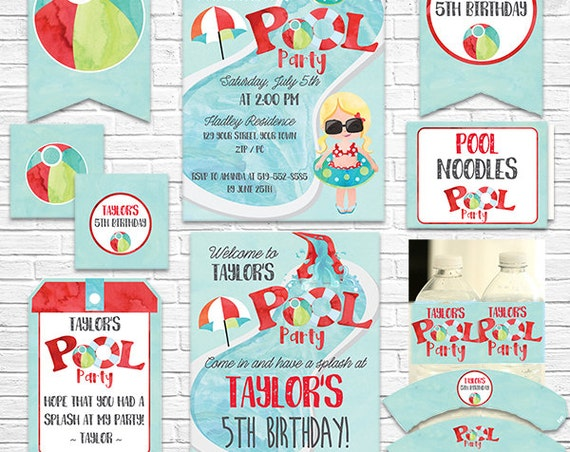 Pool Party Birthday Invitation and Decorations - Pool Party Invitation - Summer Party - Download Now & Personalize in Adobe Reader at home