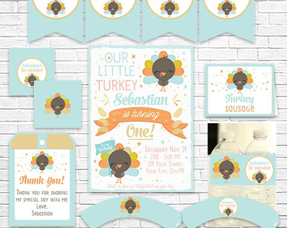 Our Little Turkey Birthday Invitation and Decorations - Fall Birthday Printable Party Kit - Download & Personalize in Adobe Reader at home