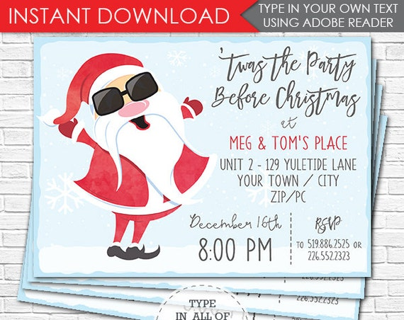 Cool Santa Christmas Party Invitation- Christmas Invitation- Santa Invitation- Work Christmas Party- Download & Personalize in Adobe Reader