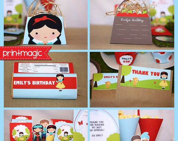 Snow White Invitations & Decorations - Snow White Party Kit - Snow White Birthday Party - Instant Download and Edit at home in Adobe Reader