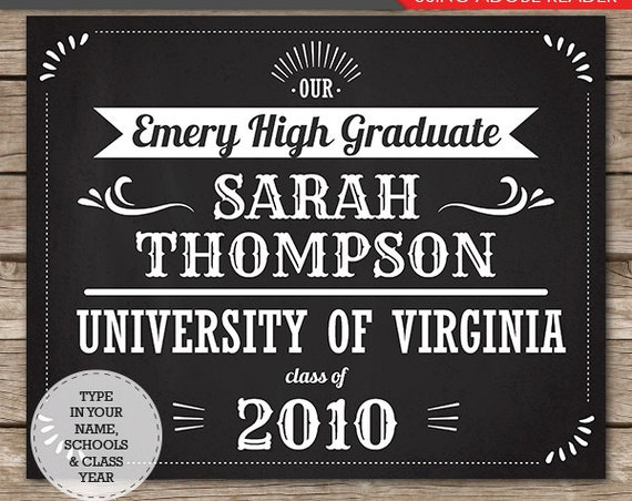 Graduation Chalkboard- Grad Chalkboard- Graduation Photo Prop- Graduation Poster-  Download & Personalize in Adobe Reader - Change the Color