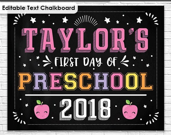 Pink Last Day of School Chalkboard - First Day of School Chalkboard - Girl Preschool Chalkboard - Download & Personalize in Adobe Reader