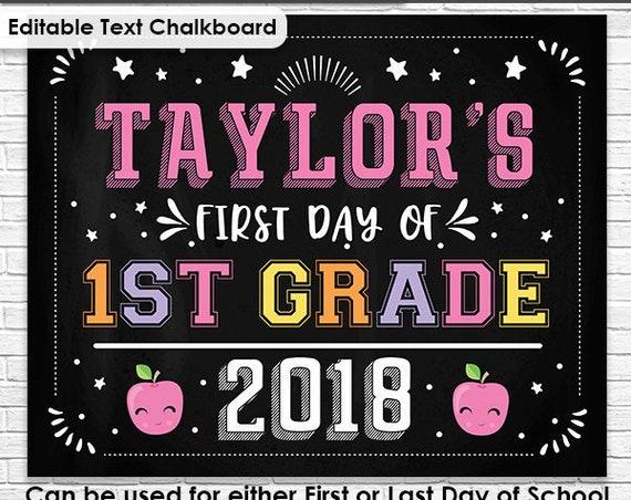 Pink Last Day of School Chalkboard - Pink First Day of School Chalkboard - Editable Text End of Year Chalkboard- Personalize in Adobe Reader