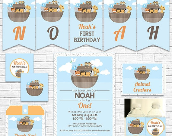 Noah's Ark Birthday Invitation and Decorations - Noah's Ark Invitation - Ark 1st Birthday - Download & Personalize in Adobe Reader at home