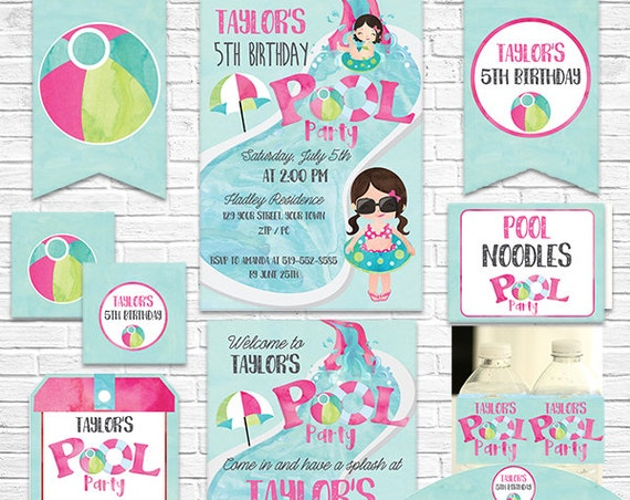 Pink Pool Party Birthday Invitation and Decorations - Girl Pool Party Invitation - Download Now & Personalize in Adobe Reader at home
