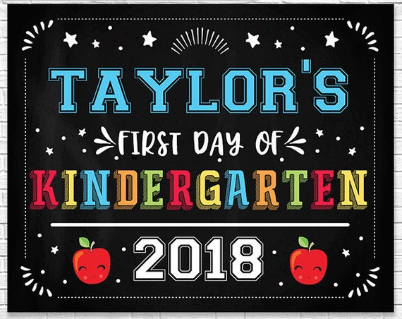 Last Day of Kindergarten Chalkboard - First Day of Kindergarten Chalkboard - Editable Text Chalkboard - Personalize it in Adobe Reader