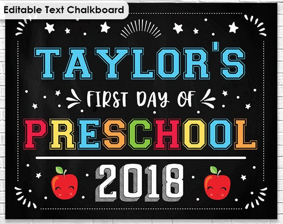 Last Day of School Chalkboard - First Day of School Chalkboard - Preschool Chalkboard - Graduation - Download & Personalize in Adobe Reader