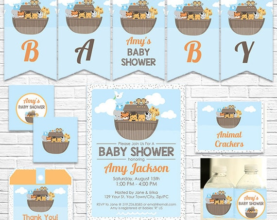 Noah's Ark Invitation and Decoration - Ark Baby Shower Printables - Ark Baby Invitation - Download Now & Personalize in Adobe Reader at home