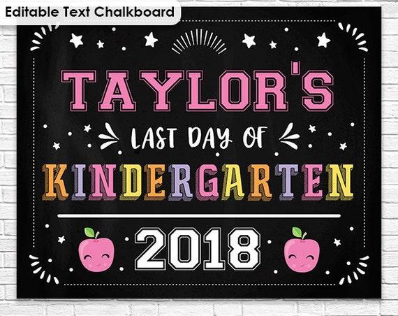 Pink Last Day of Kindergarten Chalkboard - Pink First Day of Kindergarten Chalkboard - Editable Text - Personalize it in Adobe Reader