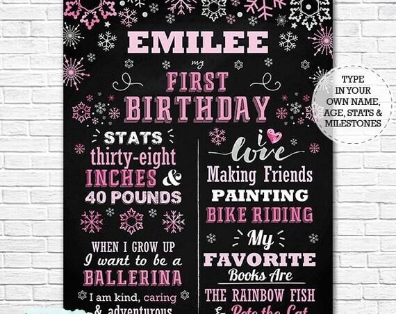 Pink Snowflake Winter Wonderland 1st Birthday Chalkboard Poster - Winter Onederland Chalkboard - Download & Personalize in Adobe Reader