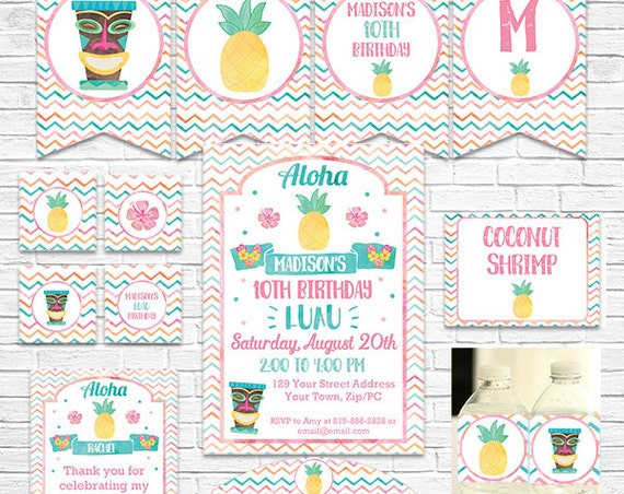 Luau Birthday Invitation and Decorations - Luau Invitation - Luau Party - Hula Party - Download Now & Personalize in Adobe Reader at home