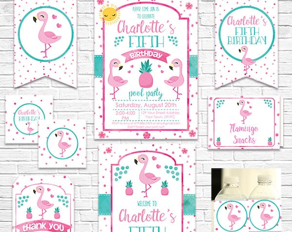 Flamingo Birthday Invitation and Decorations - Flamingo Invitation - Flamingo Party - Download Now & Personalize in Adobe Reader at home