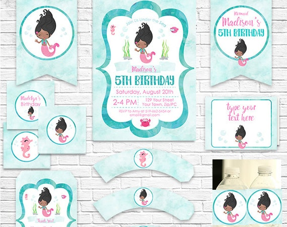 African American Mermaid Invitation and Decorations - Mermaid Birthday - Mermaid Party - Download Now & Personalize in Adobe Reader at home