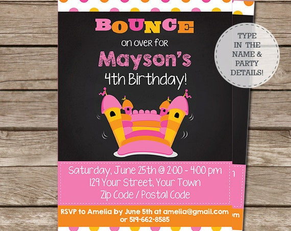 Bounce House Birthday Party Invitation - Pink Bounce House Invitation - Bouncy Castle - Download & Personalize at home in Adobe Reader