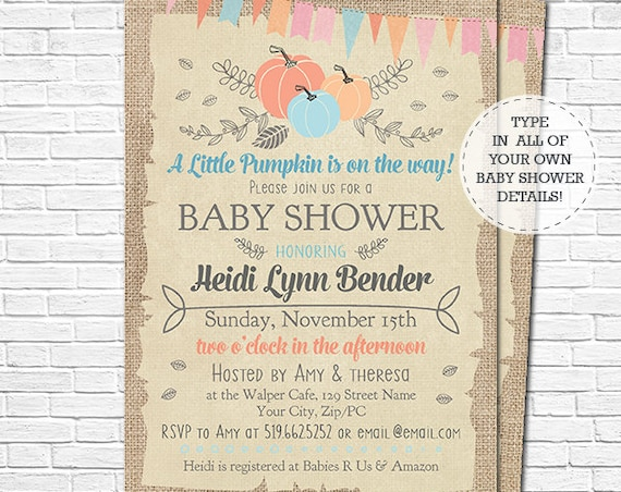 Pumpkin Baby Shower - Boy Fall Baby Shower Invitation - A Little Pumpkin is on the Way Baby Shower - Download & Personalize in Adobe Reader
