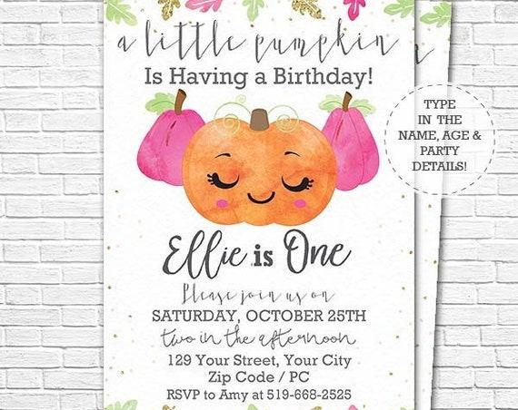 Pink Pumpkin Birthday Party Invitation - A Little Pumpkin 1st Birthday - Watercolor Pumpkin Invitation - Download & Edit in Adobe Reader