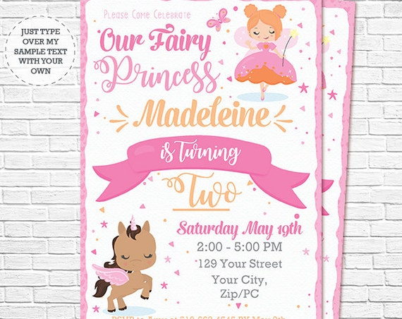 Red Hair Fairy Princess Invitation - Fairy and Unicorn Birthday Invitation - Instant Download & Personalize in Adobe Reader at home