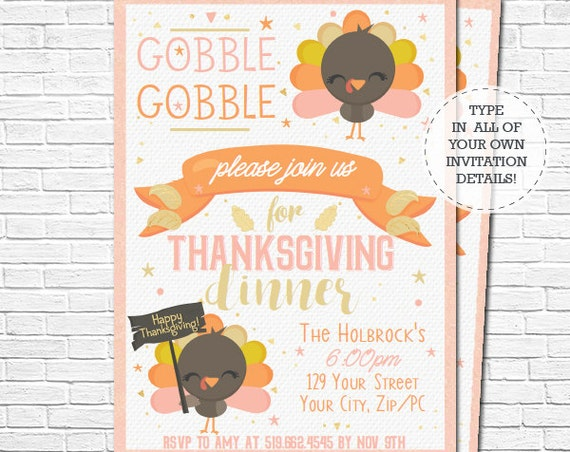Thanksgiving Dinner Invitation - Thanksgiving Invitation - Cute Turkey Invitation - Instant Download & Personalize in Adobe Reader at home