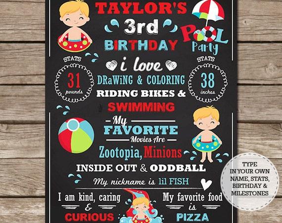 Boy Pool Party Chalkboard - Pool Birthday Chalkboard - Pool Party 1st Birthday Chalkboard - Instant Download & Edit in Adobe Reader at home