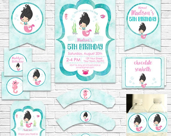 Mermaid Birthday Invitation and Decorations - Black Hair Mermaid Invitation - Mermaid Party - Instant Download & Personalize in Adobe Reader