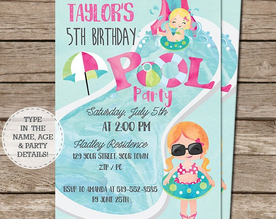 Pink Pool Party Invitation - Red Hair Girl - Pool Party Birthday - End of Year Party Invitation - Download & Personalize in Adobe Reader