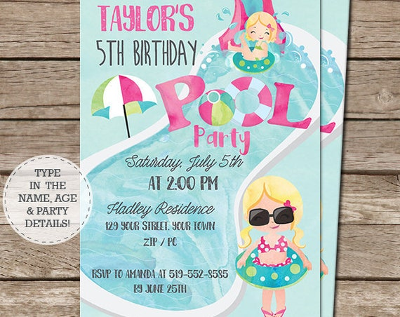 Pink Pool Party Invitation - Blonde Hair Girl - Pool Party Birthday - End of Year Party Invitation - Download & Personalize in Adobe Reader