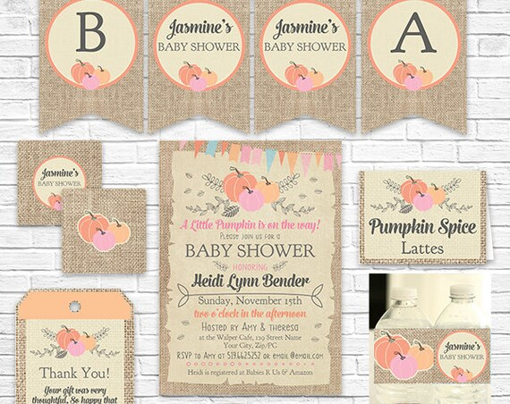 Pink Pumpkin Baby Shower Invitation and Decorations - Expecting Mom Baby Shower - Fall Baby Shower - Download & Personalize in Adobe Reader
