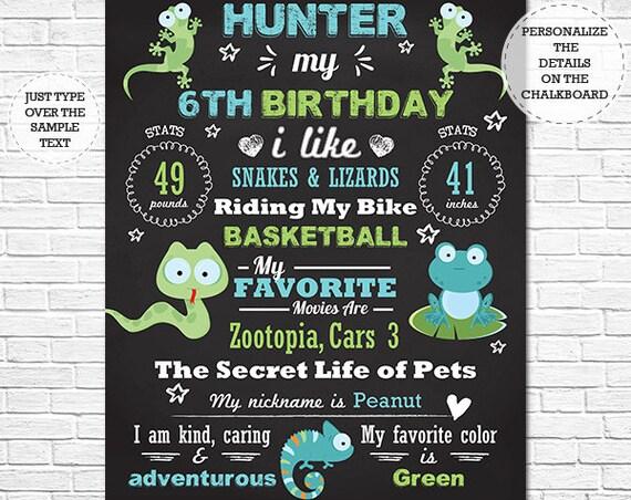 Reptile Birthday Chalkboard Poster - Reptile Chalkboard - Reptile Birthday Sign - Instant Download & Edit in Adobe Reader at home
