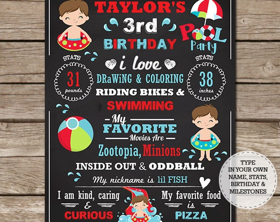 Brown Hair Boy Pool Party Chalkboard - Pool Birthday Chalkboard - Pool Party 1st Birthday - Instant Download & Personalize in Adobe Reader