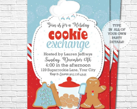 Christmas Cookie Exchange Invitation - Cookie Exchange Party Invitation - Cookie Decorating Party - Download & Personalize in Adobe Reader