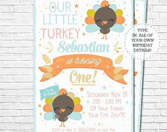 Boy Little Turkey Birthday Invitation - Fall Birthday - Thanksgiving Birthday Invitation - Download & Personalize in Adobe Reader at home
