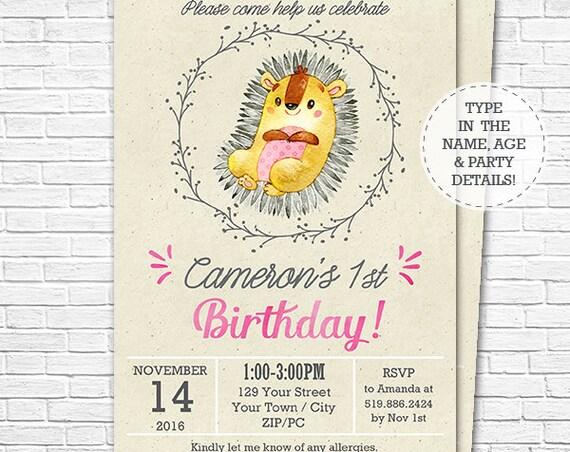 Cute Hedgehog Invitation - Pink Woodland Birthday Invitation - Pink Hedgehog Invitation - Download & Personalize in Adobe Reader