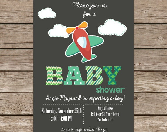 Retro Airplane Baby Shower Invitation - Airplane Invitation - Boy Baby Shower Invitation - Download & Personalize at home in Adobe Reader